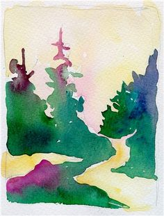 Abstract watercolor trees