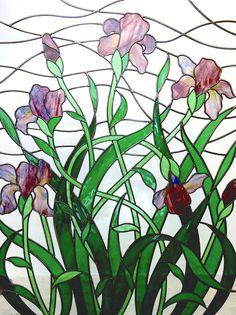 Art Nouveau style Iris Stained Glass Window by Flora Jamieson