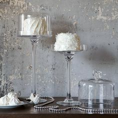 Bird Dessert Stands --A different take on the cake stand, as it is much taller. Allows for other decor below.