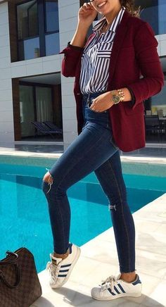 #fall #outfits · Red Blazer // Striped Shirt // Destroyed Jeans // White Sneakers
