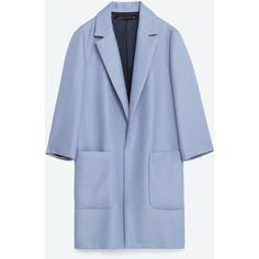 MASCULINE COAT - NEW IN-WOMAN | ZARA United States ($50) ❤ liked on Polyvore featuring outerwear, coats, jackets and blue coat