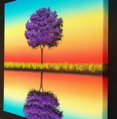 Contemporary Wall Art Hand Painted Purple Tree Art Oil by BingArt