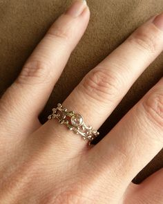 Rose Cut Moissanite Wreath Engagement Ring by kateszabone on Etsy, $495.00