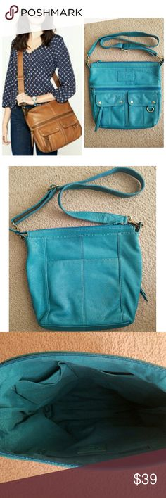 Fossil Turquoise Messenger Bag Genuine leather. Antique gold-toned hardware. Exterior has one large and one small zippered pocket, two front pockets with magnetic closures on the front; one slip pocket on the back. Interior has one zippered pocket and two slip pockets. Has a couple of very small dark spots on front (see last photo). Fossil Bags