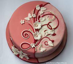 Flower Pattern - cake by Jana - CakesDecor Cake Decorating Frosting, Cake Decorating Designs, Cake Decorating Supplies, Birthday Cake Decorating, Cake Decorating Techniques, Cake Designs, Cookie Decorating, Bolo Fondant, Fondant Flower Cake