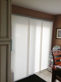 Panel Tracks are another good window covering for patio doors. It's a nice clean contemporary look.