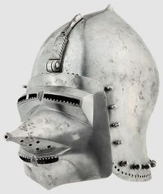 Reproduction of the Veste Coburg klappvisor bascinet by Billy Radford.  This often gets mistaken for and passed around as the original helmet.