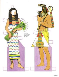 Ancient Egyptian Costumes Paper Dolls by Tom Tierney - Dover Publishing Co:  Plate 3 (4 of )
