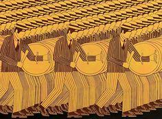 Γιάννης Γαΐτης. Οι Πολεμιστές. Λάδι σε μουσαμά. 98Χ130 εκ