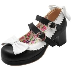 Amazon.com | Latasa Women's Lolita Bows & Buckle Chunky Heels Mary... ($29) ❤ liked on Polyvore featuring shoes, pumps, bow pumps, thick heel pumps, maryjane pumps, wide heel pumps and buckle pumps