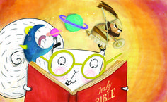 The Bible is full of amazing stories! Illustration by Catalina Echeverri for Alby's Amazing Book, a story about Alby the squirrel who loves to read!