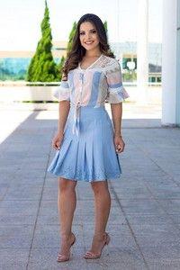 a01bcc7e2b Livia Fashion Store. CONJUNTO AZUL E BRANCO SAIA PLISSADA K CM3B5DAYV