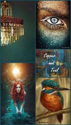 Copper and teal mood board and color palette inspiration. Scheme Color, Colour Schemes, Color Trends, Color Combos, Color Patterns, Copper Colour Scheme, Colour Palettes, Color Collage, Wall Collage