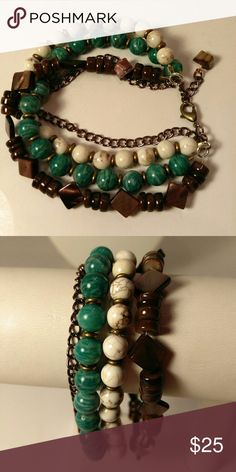 """Four strand bracelet Copper chain, wood, chrysophase and mother of pearl. Very pretty 7 1/2"""" Jewelry Bracelets"""