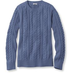 L.L.Bean Double L Mixed Cable Sweater, Crewneck ($45) ❤ liked on Polyvore featuring tops, sweaters, blue crewneck sweater, blue crew neck sweater, cable knit crew neck sweater, fitted sweater and cable sweater