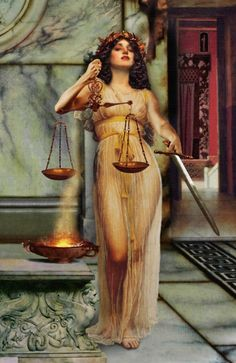 "Themis {titan/personification of divine law and order} ""that which is put in place""; mother of the Horae and the Moirae by Zeus. By Howard David Johnson."