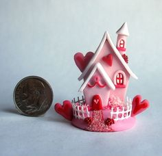 Handmade Miniature FAIRY  WHIMSY VALENTINE COTTAGE - OOAK by C. Rohal #CRohal
