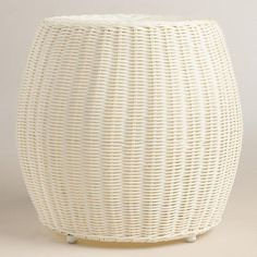Hand woven with white weather-resistant resin wicker, our lightweight, easy-to-clean stool lends a casual look to your alfresco seating arrangement.