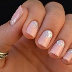 Nude #nails with glitter and stones