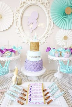 What a gorgeous Mermaid themed 1st Birthday!! The candy apples are beautiful and just look at that birthday cake! See more party ideas and share yours at CatchMyParty.com