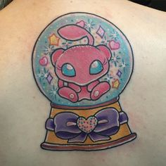 Mew snow globe I got to do for Rachel at the top of her back (bit distorted and swollen over the spine) ✨ All the sparkles! Thanks lady. Pokemon Sleeves, Globe Tattoos, Geek Out, Cute Tattoos, Tattoo Inspiration, Art Inspo, Snow Globes, Tatting, Geek Stuff