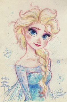 ELSA the Snow Queen from Disney's FROZEN by princekido Pretty amazing how many styles David Gilson draws in, and how he manages to nail the character in each and every one… Frozen Disney, Disney Pixar, Frozen Art, Disney Fan Art, Disney And Dreamworks, Disney Love, Disney Magic, Elsa Frozen, Disney Sketches