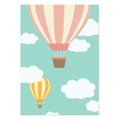 Poster-colors-Luchtballon-roze-A3