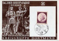 Künstler Gedenkkarte Drittes Reich KDF (Kraft durch Freude) Dortmund Tag der Briefmarke 1942  Gedenkkarte MiNr.: 810 KDF Sammlergruppe - K...