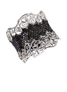 Lace Cuff, white gold with white & black diamonds ~ Royal Garden