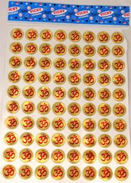 YAPREE HANDMADE GOLD AND RED OM STICKERS : SET OF 80