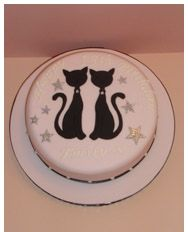Cats Silhouette Cake with glitter stars