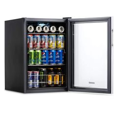 NewAir Beverage Cooler and Refrigerator, Small Mini Fridge with Glass Door, Perfect for Soda Beer or Wine, Capacity, Stainless Steel - BELİNDA Small Mini Fridge, Tiny Fridge, Beer Fridge, Small Fridges, Glass Door Refrigerator, Beverage Refrigerator, Kitchen Refrigerator, Drinks Fridge, Frigidaire Refrigerator