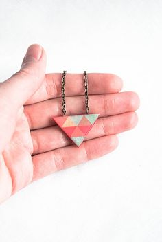 Triangle necklace geometric jewelry cute necklace pendant by Lepun, $18.00
