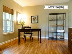 This is a nice simple stage that helps buyers think what furniture would look like in the space. Decorating Blogs, Interior Decorating, Interior Design, Home Renovation, Home Remodeling, Dusty House, First Home, Home Staging, House Rooms