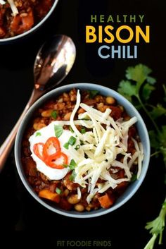 This Healthy Bison Chili is loaded with veggies, beans, and brown rice to make the hardiest, best-tasting chili ever!