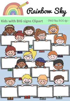 These kiddies are holding BIG labels which could be used for labelling your next set of activities or included when designing your resources.  32 graphics in the set which contains 16 individual designs. 8 boys and 8 girls in colour and black line.  All graphics are PNG files, 300 dpi with transparent backgrounds. ~ Rainbow Sky Creations ~