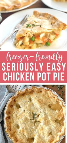 Here is a chicken pot pie that is quick-prep, easy & savory chicken pot pie and perfect for the whole family! It can be made ahead and it Healthy Chicken Pot Pie, Chicken Pot Pie Filling, Chicken Pot Pie Casserole, Homemade Chicken Pot Pie, Chicken Freezer Meals, Freezable Meals, Freezer Friendly Meals, Healthy Freezer Meals, Chicken Potpie
