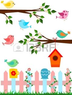 Illustration about Cartoon illustration of birds with fence and bird house. Illustration of branches, cartoon, yellow - 25604757 Diy And Crafts, Crafts For Kids, Paper Crafts, Painting For Kids, Art For Kids, Decoration Creche, Quilling Designs, School Decorations, Window Art