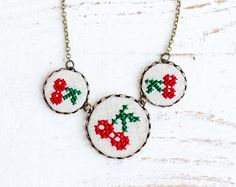 Embroidered+Cherry+necklace++summer+fashion+by+skrynka+on+Etsy,+$31.00