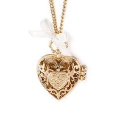 Gold Filigree Heart Locket Pendant Necklace