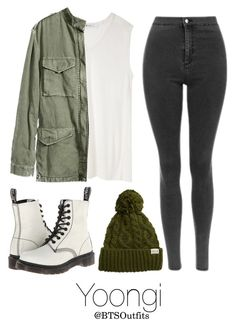 Military/ Army Inspired: Yoongi by btsoutfits on Polyvore featuring T By Alexander Wang, Dr. Martens and Rella