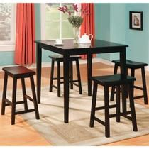 Coaster Yates 5 Piece Black Counter Height Square Pub Table Dining Set with Square Tapered Legs