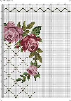 This Pin was discovered by Arz Cross Stitch Pillow, Cross Stitch Borders, Cross Stitch Rose, Cross Stitch Flowers, Cross Stitch Charts, Cross Stitching, Cross Stitch Patterns, Diy Embroidery, Cross Stitch Embroidery