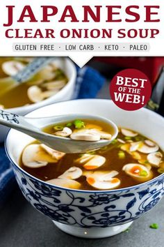 A simple light, clear soup just like the one on your local Hibachi Steakhouse menu. Super quick and easy Japanese Clear Onion Soup recipe. Only 9 Ingredients and 30 Minutes Needed! Gluten-Free. Low-Carb. Keto. Paleo. Whole 30. #recipe #keto #lowcarb #glutenfree #easyrecipe #souprecipeseasy #easyketo #easylowcarb #ketosoup Easy Soup Recipes, Beef Recipes, Low Carb Recipes, Real Food Recipes, Cooking Recipes, Healthy Recipes, Japanese Clear Onion Soup Recipe, Japanese Soup, 30 Recipe