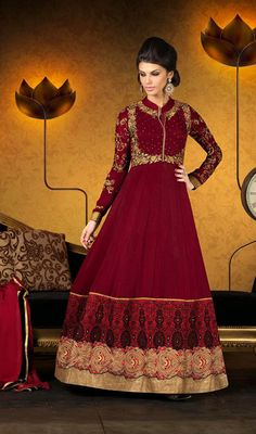Maroon Embroidered Georgette Floor Length Anarkali Suit Price: Usa Dollar $152, British UK Pound £90, Euro112, Canada CA$165 , Indian Rs8208.