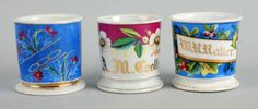 Porción # : 738 - Lot of 3: Full-Wrap Floral Shaving Mugs.