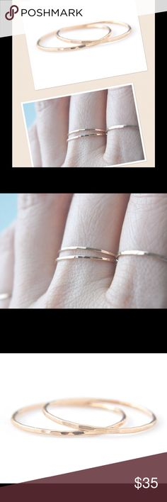 2 Skinny Gold Stack Rings A set of two faceted, 14k yellow gold filled super skinny stacking rings. These are available in sizes 2-14. They will come t you gift boxed, preparing you for any gift giving needs. NEED A CUSTOM SIZE?  Let me know! I'll make you a custom listing! nejd Jewelry Rings
