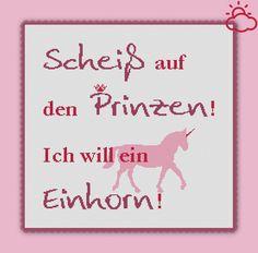 Stickvorlage Ich will ein Einhorn Kreuzstich modern Stickvorlage von www.yayaya-shop.com