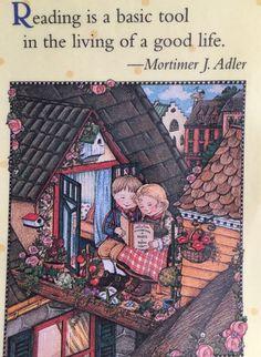 Handmade Fridge Magnet-Mary Engelbreit Artwork-Reading-