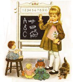 """Ilustração de Sharon Kane para o livro também escrito por ela em 1967, """"Little Mom"""""""